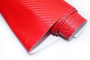 1pc DIY 3d Red Decal Carbon Fibre Vinyl Wrap Film Sheet Sticker 30x152cm