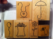 Stampin' Up The Fine Print Rubber Stamp Set of 6