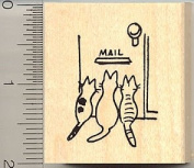 Kitties Waiting for Mail Rubber Stamp - Wood Mounted