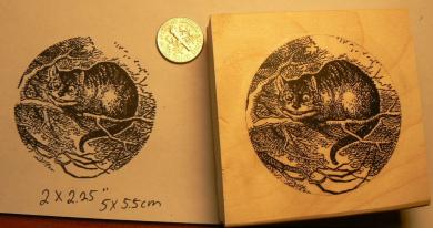 Alice in wonderland's Cheshire cat rubber stamp P50