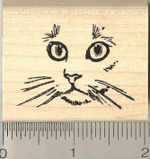 Cat Face Rubber Stamp - Wood Mounted