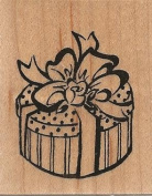 Bow Wrapped Box Wood Mounted Rubber Stamp