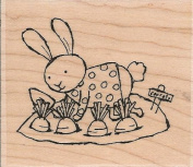Bunny Gardening Wood Mounted Rubber Stamp