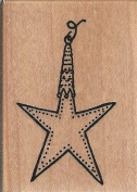 Star Ornament Wood Mounted Rubber Stamp
