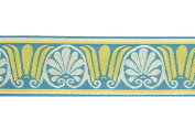 Dove of the East Paris Vintage Metropole Brocade Ribbon for Scrapbooking, 1-Yard, Teal/Cream/Yellow