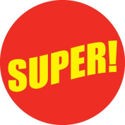 Ace Label 13389C 'Super' Teacher School Stickers, 6.4cm , Red/Yellow, Roll of 100