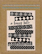 Card Art Happy Hello Wood Mounted Rubber Stamp Kit