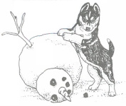 Dog Rubber Stamp - Siberian Husky with Snowman-2E (Size