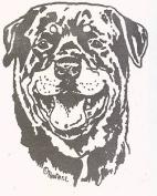 Dog Rubber Stamp - Rottweiler-4E (Size