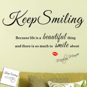 "Toprate(TM) Quote Marilyn Monroe "" Keep smiling because life is a beautiful thing and there is so much to smile about "" Classic Monroe Lips DIY Removable Wall Decal Vinyl Wall Sticker Art Home Decoration"