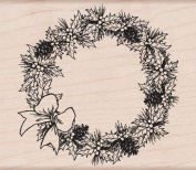 Pinecone Wreath Wood Mounted Stamp