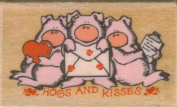 """Hogs and Kisses"" 3 Pigs Rubber Stamp on Wooden Block"