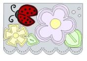 Lasting Impressions Brass Stencil - Flowers, Leaf, Bug, Border