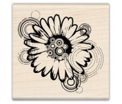 MOD DAISY SCRAPBOOKING WOOD MOUNTED RUBBER STAMP