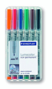 Staedtler Lumocolor Non-Permanent Overhead Projection Markers assorted colours medium 1.0 mm set of 6