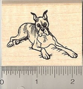Boxer Dog Rubber Stamp - Wood Mounted