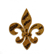 Crystal Heiress Rhinestone Sticker, Fleur De Lis-Zebra, 8.9cm by 11cm , Gold/Black