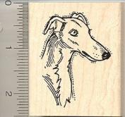 Greyhound Dog Face Rubber Stamp - Wood Mounted