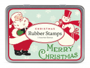 Cavallini 3 Assorted Rubber Stamps Sets, Christmas Santas