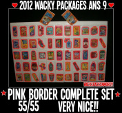 2012 Wacky Packages Ans9 Complete Pink Border Set 55/55 + Wrapper