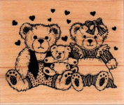 Bear Family Wood Mounted Rubber Stamp
