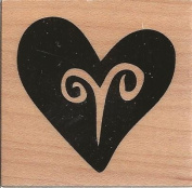 Funky Heart Wood Mounted Rubber Stamp