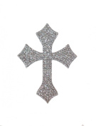 Crystal Heiress Rhinestone Sticker, Cross, 10cm by 13cm , Silver