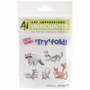 Art Impressions Try'folds Cling Rubber Stamps 17cm x 10cm -Furries