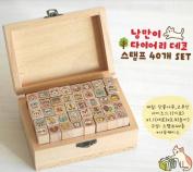 40 Kinds Korea DIY Wooden Box Rubber Stamp Cat Stamp
