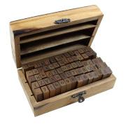 Estone 70pcs/set Wooden Box multipurpose Number Alphabet Letter Wood Rubber Stamp New