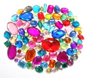 LOVEKITTY TM 100 pc lot Sew-On Gems Mixed Colours & Shapes Flat Back Gems