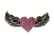 Crystal Heiress Rhinestone Sticker, Heart with Wings, 14cm by 7cm , Pink