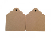 100 Count Chipboard Scalloped Hang Tags for Crafts, Gifts, Party Favours, Price Tags