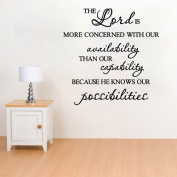 "60*45CM ""The Lord knows our possibilities"" Vinyl Art Wall Stickers Room Decor Home Mural Decals EWQ0008"