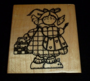 Little Girl Artist Rubber Stamp
