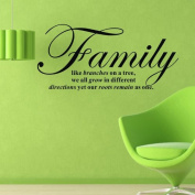 "60*45CM ""Family...our roots remain as one "" PVC Vinyl Art Wall Stickers Home Decorative Decals Living Room Decor Mural EWQ0159"