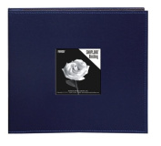 Pioneer 20cm by 20cm Snapload Sewn Leatherette Frame Cover Memory Book, Navy Blue