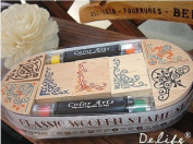 Wooden Rubber Stamp Box - Vintage Print Style - Capital Classical Angle Lace Stamp Ink Pad Pen Sets
