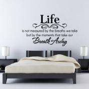 "60*45CM ""Life is...Breath..."" Vinyl Art Wall Stickers Home Decorative Decals Living Room Mural Decor EWQ0107"