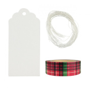 Wrapables 50 White Scallop Gift Tags/Kraft Hang Tags with Free Cut String & 1 Christmas Plaid Washi Roll for Gifts, Crafts, & Price Tags