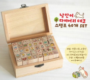 ONOR-Tech 40 Pcs Lovely Cat Wooden Rubber Stamp /DIY Diary Stamp Set