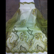 Green Mash Embroidery Border Lace Sequins Beads 130cm Wide By the Yard