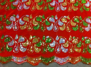 Orange Velvet Holographic Sequins Emb Fab 120cm By the Yard