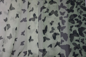 Printed Chiffon-Faded Green With Black Butterflies