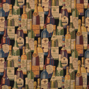140cm Wide A009, French and Italian Wine Bottles, Themed Tapestry Upholstery Fabric By The Yard