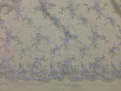 White Mesh w/ Embroidery Beads & Sequins Bridal Lace Fabric 130cm By the Yard