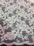 Offwhite Floral Bridal Lace Corded Fabric 130cm Wide By the Yard