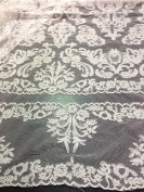 Ivory Bridal Lace Corded Fabric 130cm Wide By the Yard