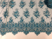 Teal Mesh w/ Embroidery Sequins Hand Beaded Lace Fabric 130cm Wide By the Yard