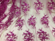 Fuchsia Mesh w/ Embroidery Sequins Hand Beaded Lace Fabric 130cm Wide By the Yard
